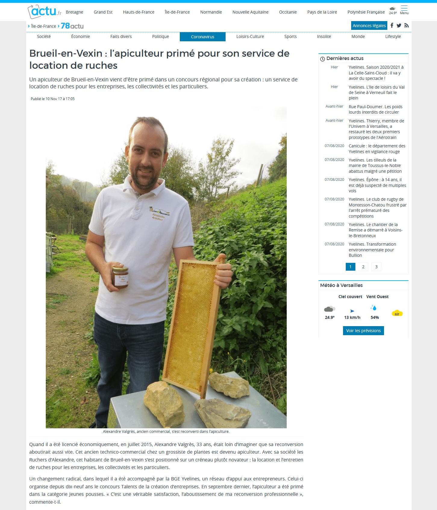 Brueil-en-Vexin : l'apiculteur primé pour son service de location de ruches